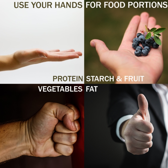 hand food portion chart